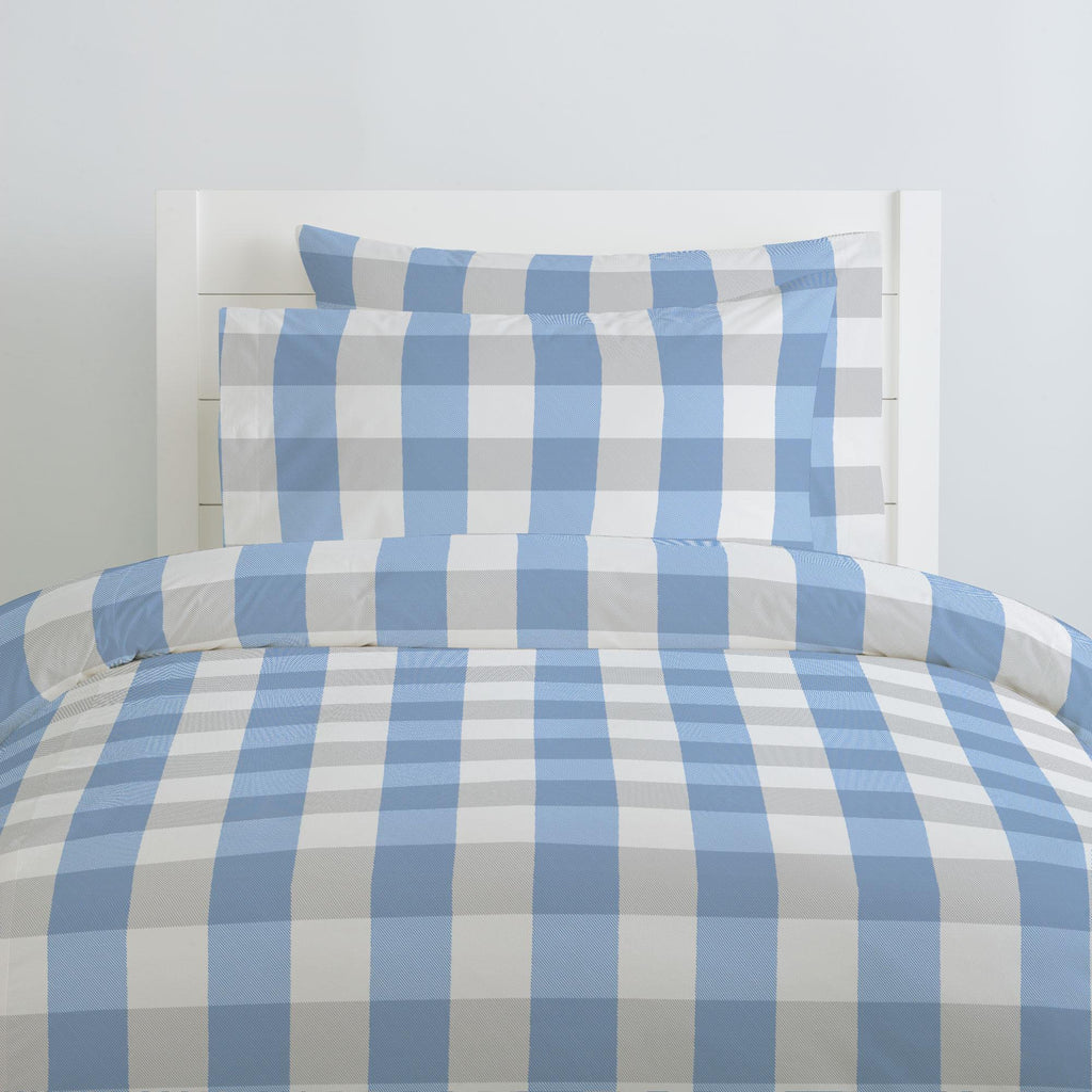 Product image for Blue and Silver Gray Buffalo Check Duvet Cover