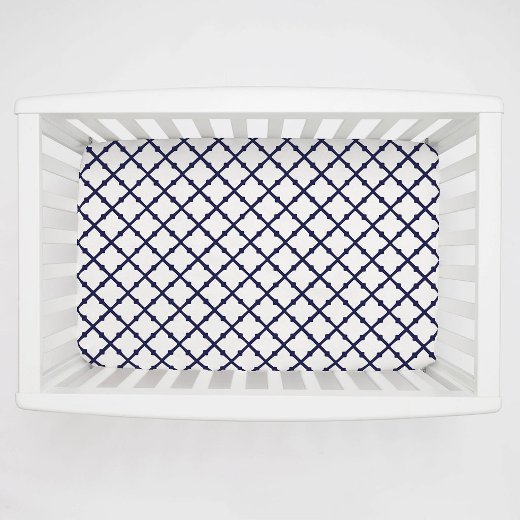Product image for Windsor Navy Lattice Mini Crib Sheet