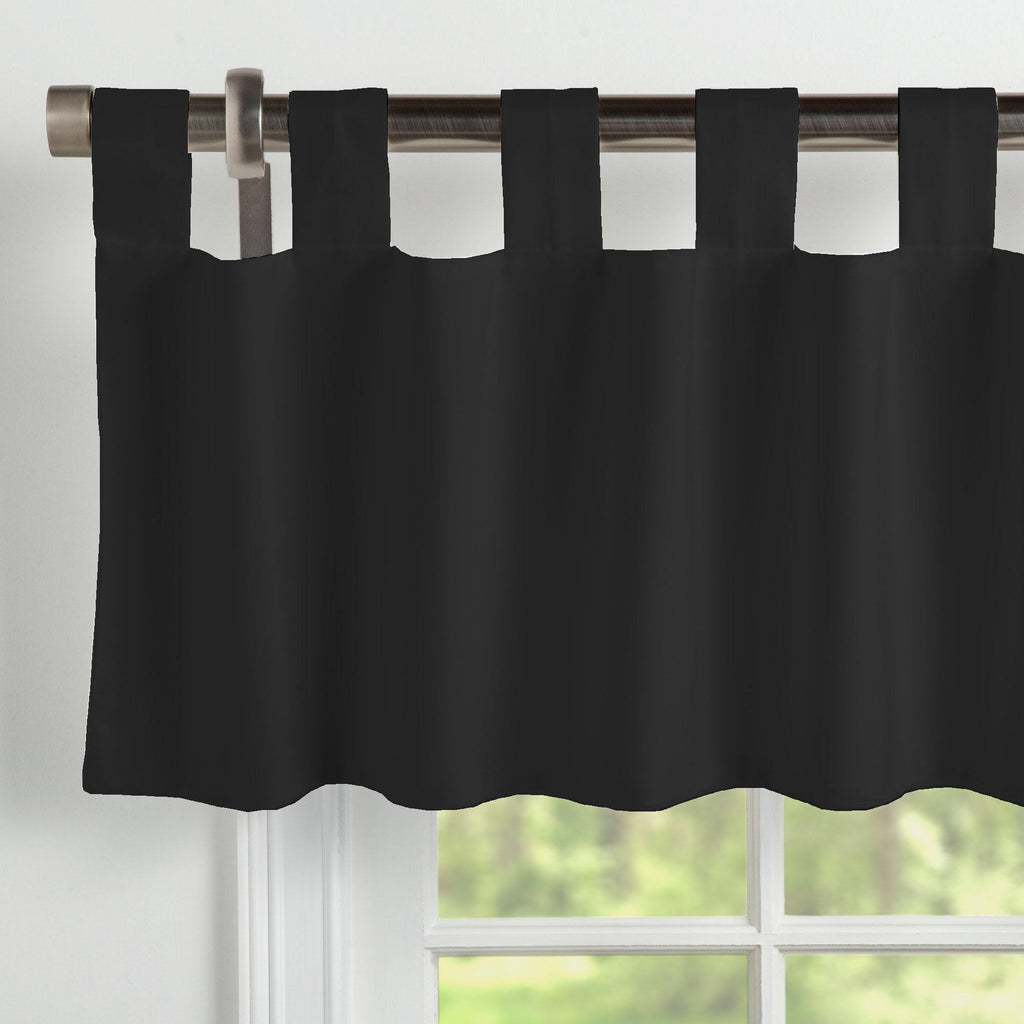 Product image for Solid Black Window Valance Tab-Top