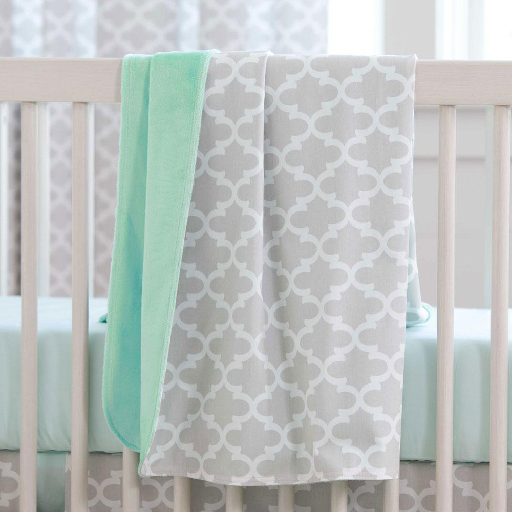 Product image for French Gray Quatrefoil Baby Blanket