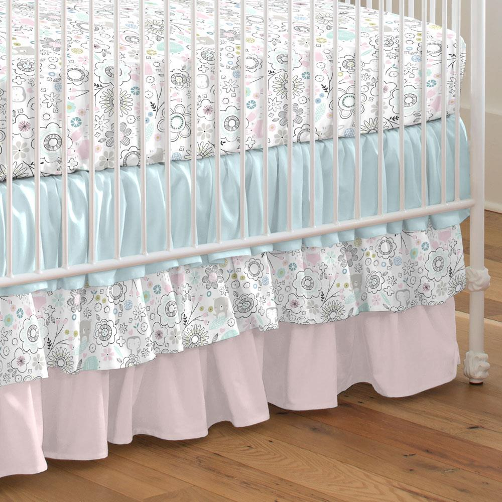 Product image for Pink Spring Doodles Crib Skirt 3-Tiered