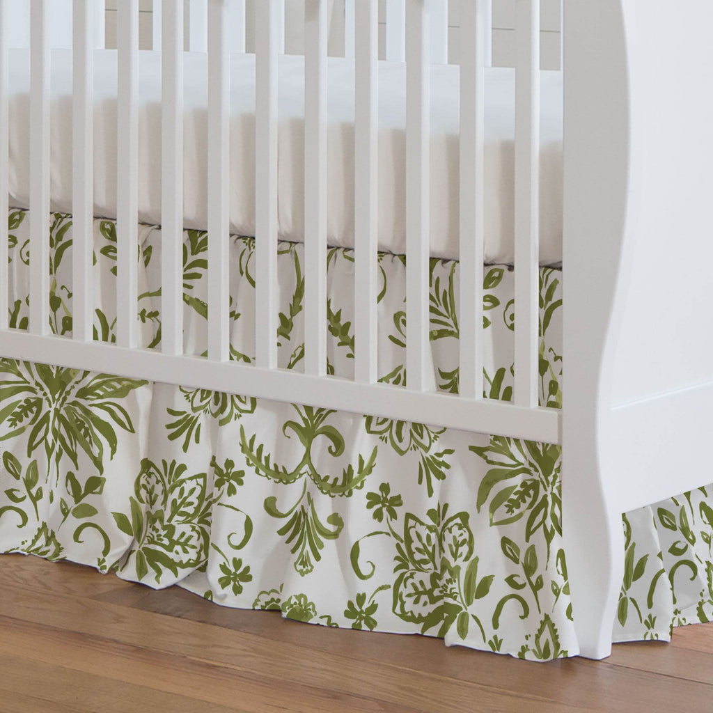 Product image for Sage Coastal Damask Crib Skirt Gathered