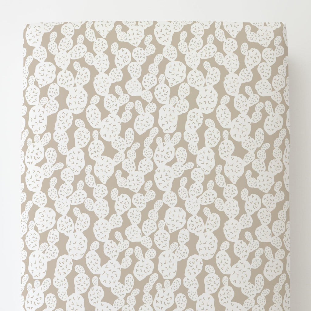 Product image for Taupe Prickly Pear Toddler Sheet Bottom Fitted