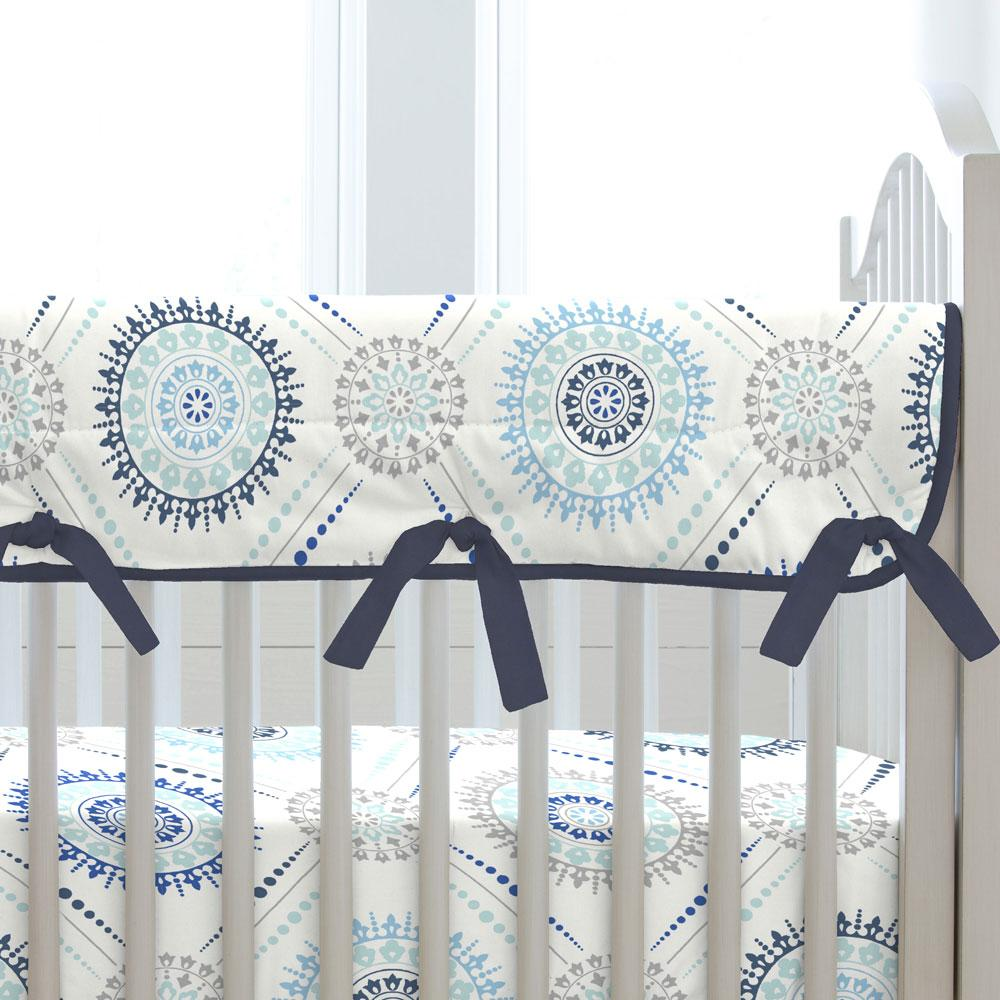 Product image for Denim and Silver Gray Modern Medallion Crib Rail Cover