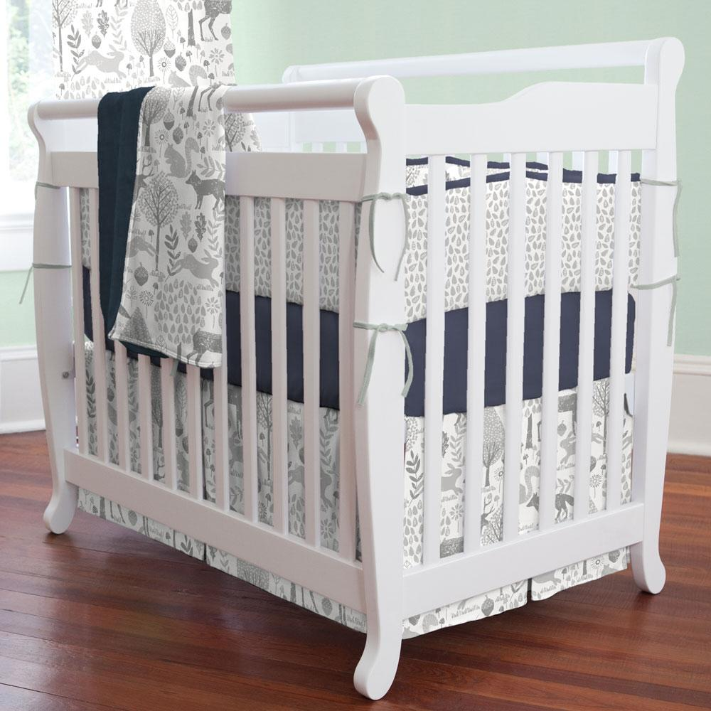 Product image for Gray Woodland Animals Mini Crib Skirt