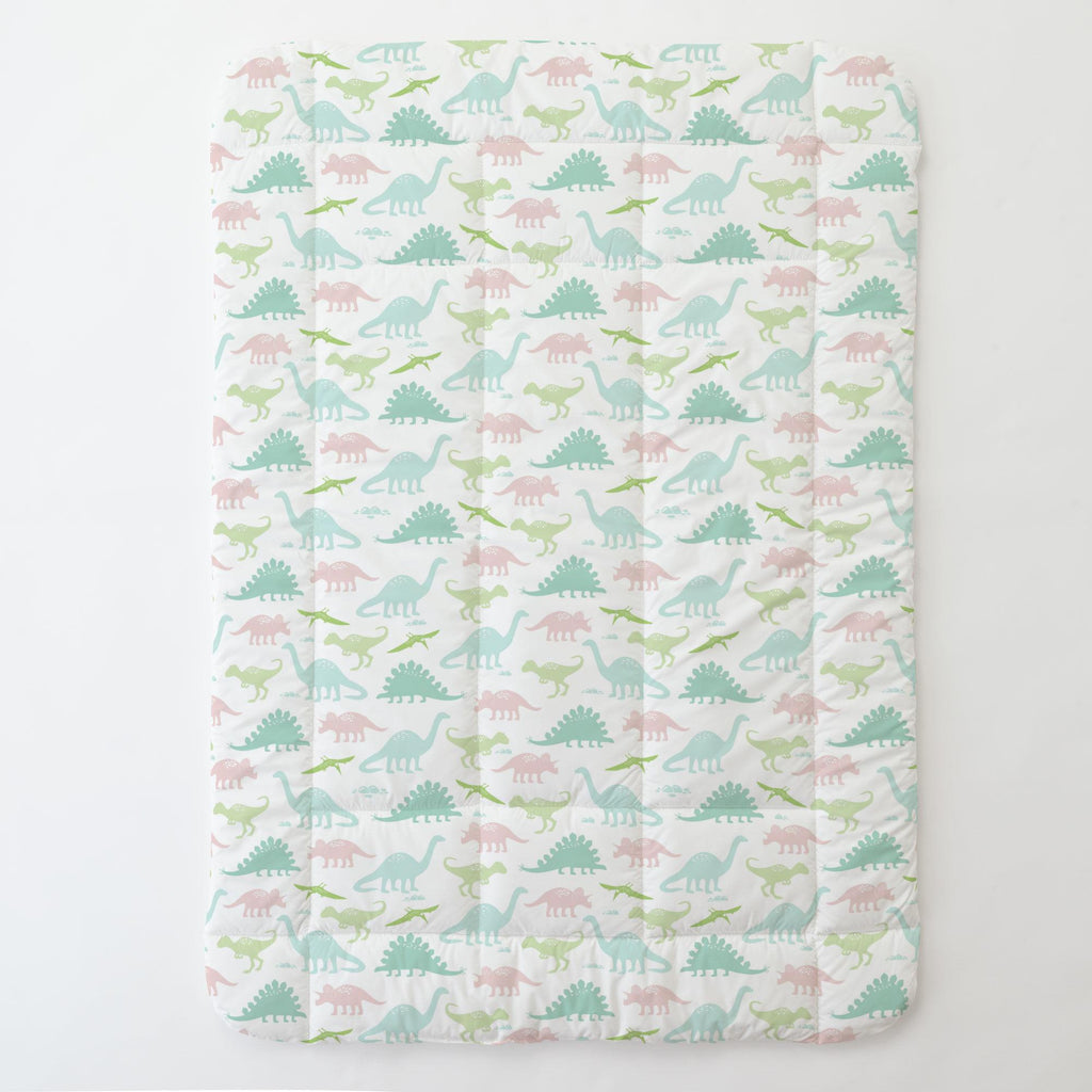 Product image for Pale Pink and Mint Dinosaurs Toddler Comforter