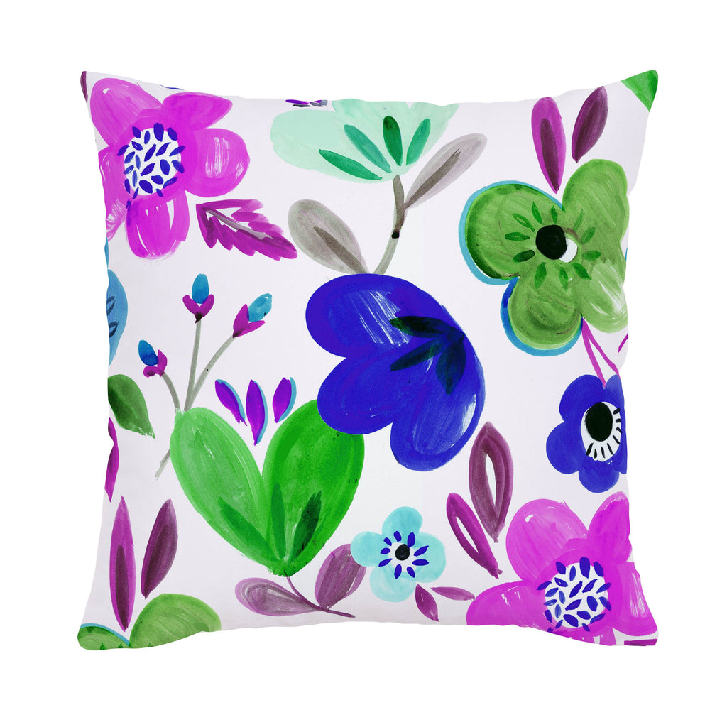 Product image for Purple Painted Flowers Throw Pillow