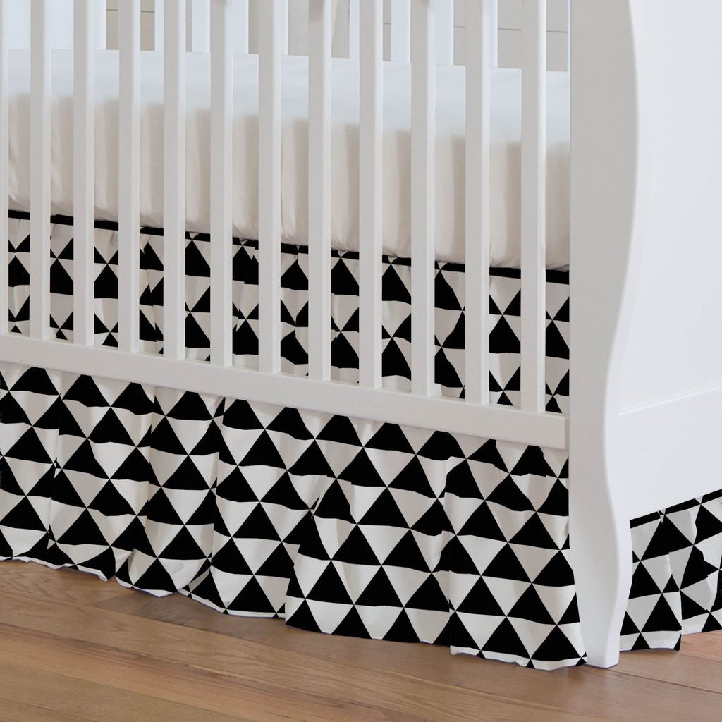 Product image for Onyx Triangle Stack Crib Skirt Gathered