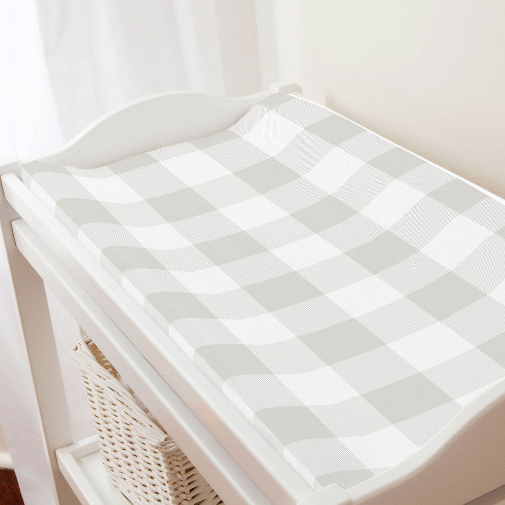 Product image for French Gray and White Buffalo Check Changing Pad Cover