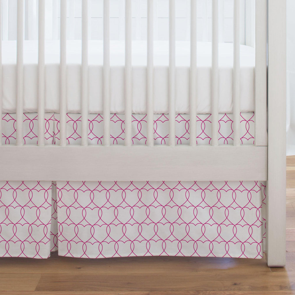 Product image for Fuchsia Sweetheart Crib Skirt Single-Pleat