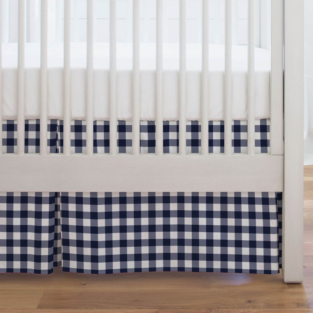 Product image for Windsor Navy Gingham Crib Skirt Single-Pleat