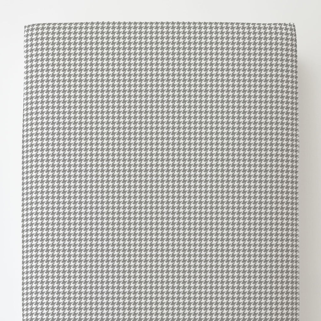Product image for Cloud Gray and White Houndstooth Toddler Sheet Bottom Fitted