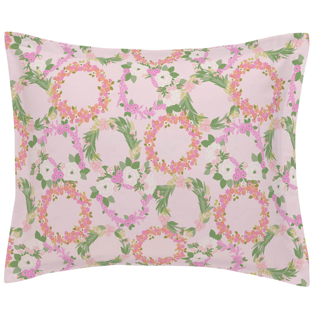 Product image for Pink and Coral Floral Wreath Pillow Sham