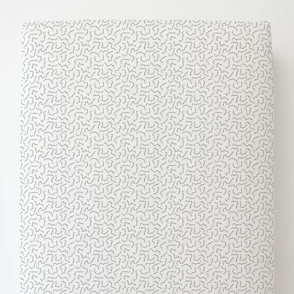 Product image for Slate Squiggles Toddler Sheet Bottom Fitted