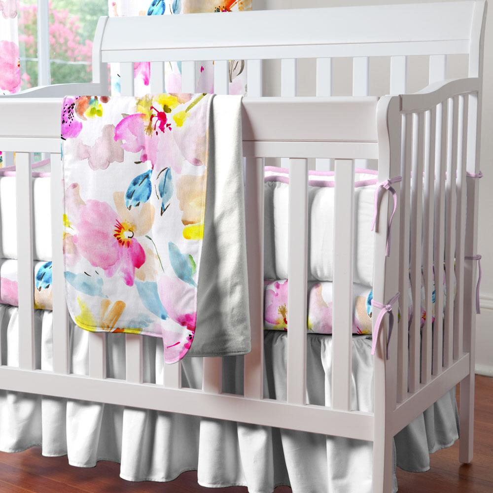 Product image for Solid Antique White Mini Crib Skirt Gathered