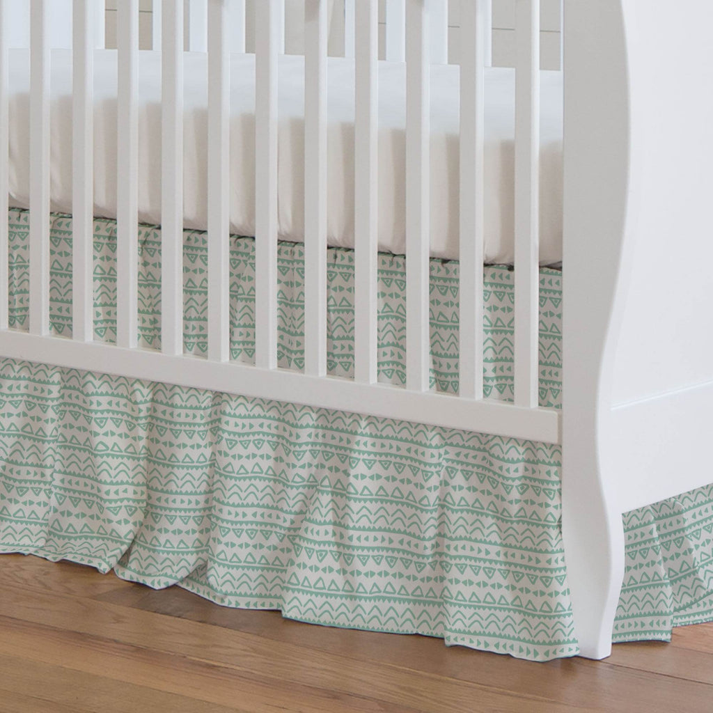 Product image for Mint Baby Aztec Crib Skirt Gathered