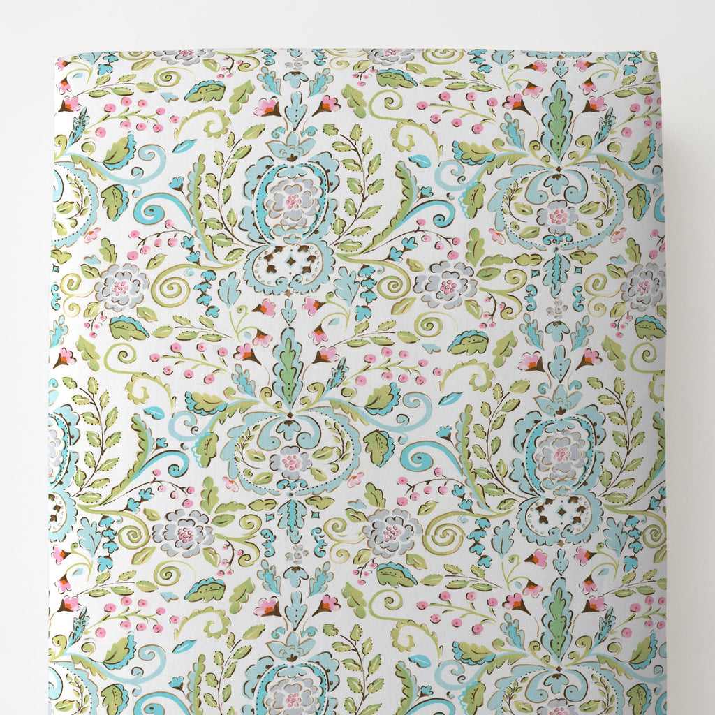 Product image for Love Bird Damask Toddler Sheet Bottom Fitted