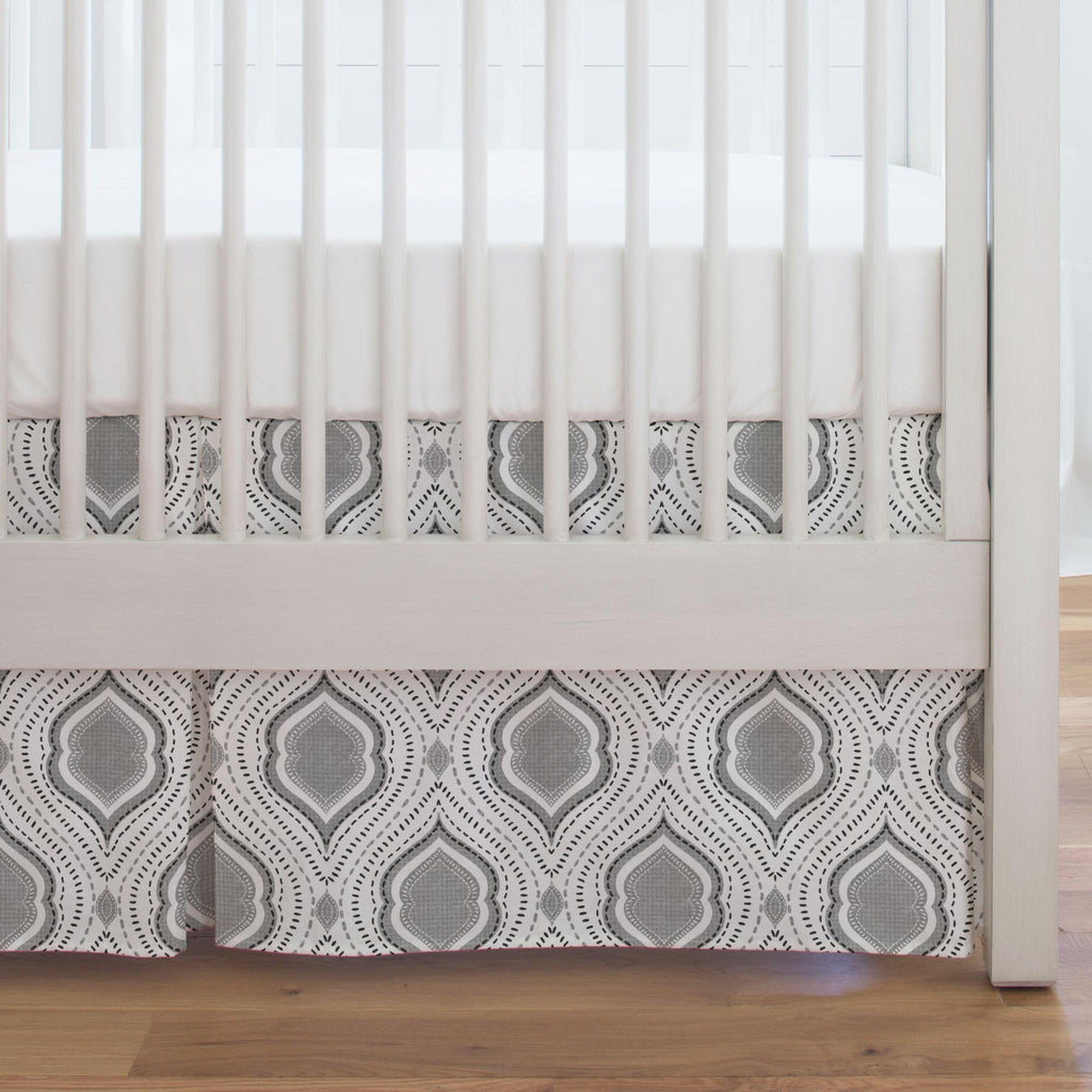 Product image for Gray Moroccan Damask Crib Skirt Single-Pleat