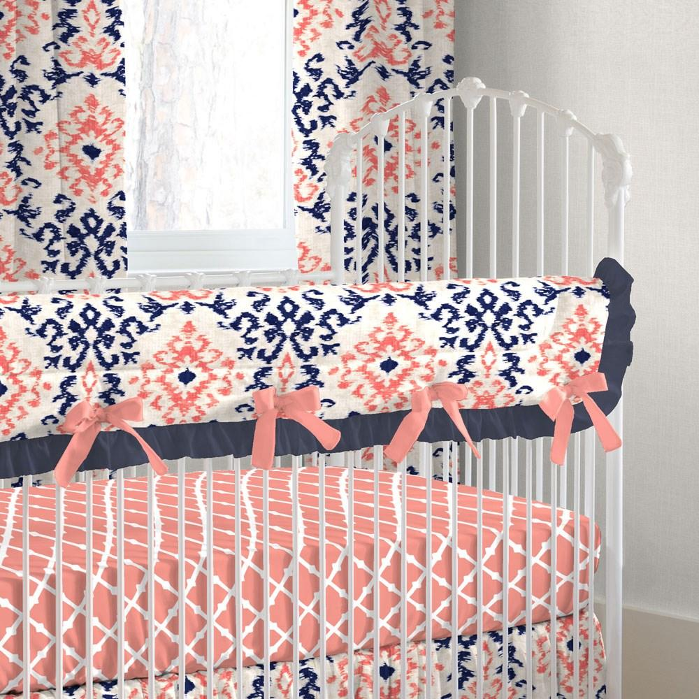 Product image for Navy and Coral Ikat Damask Crib Rail Cover