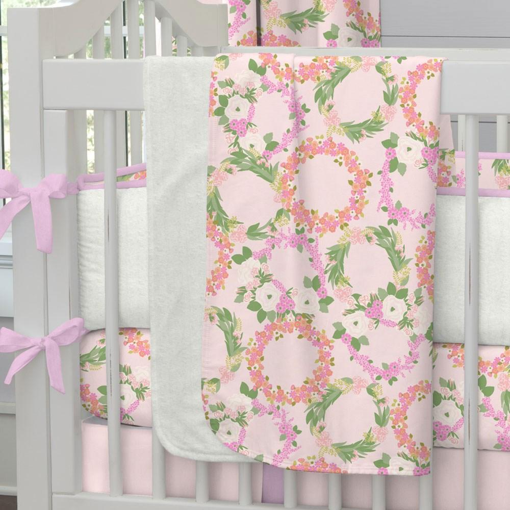 Product image for Pink and Coral Floral Wreath Baby Blanket