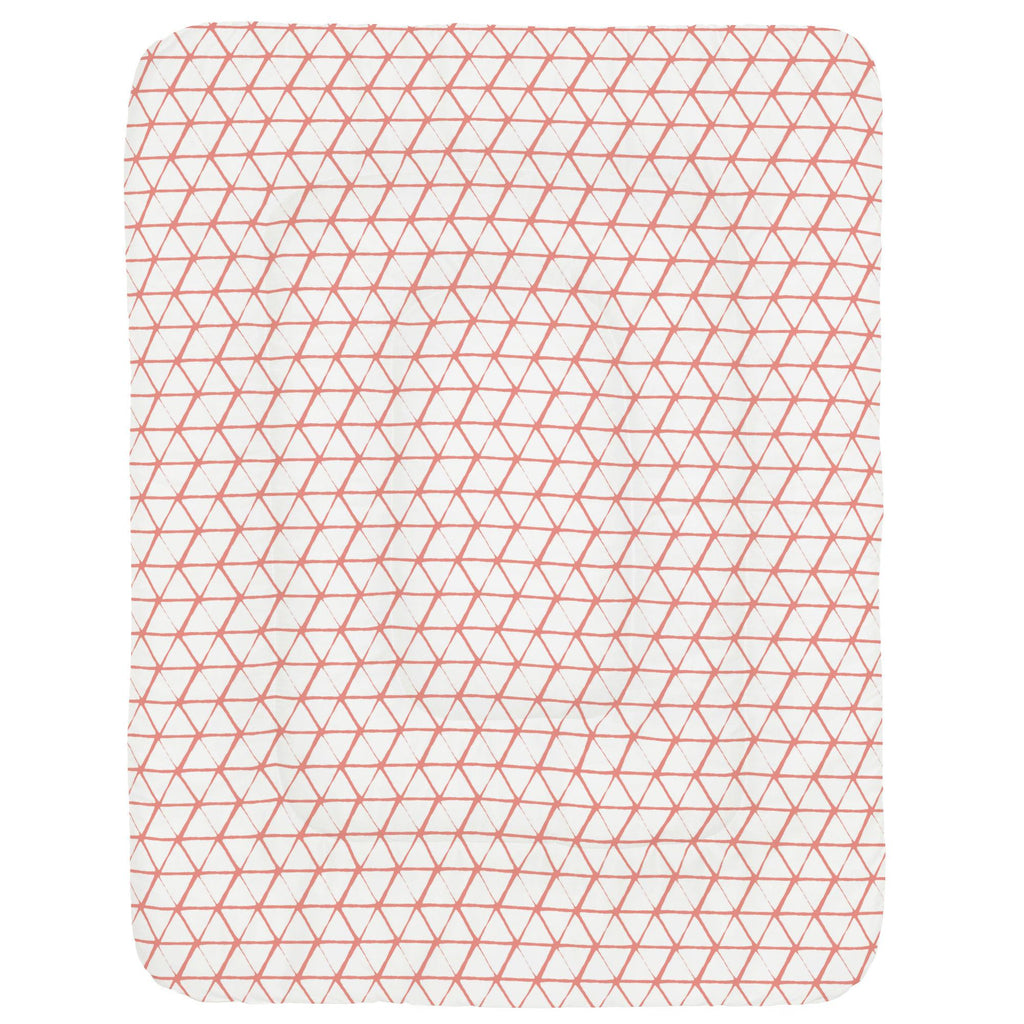 Product image for White and Light Coral Aztec Triangles Crib Comforter