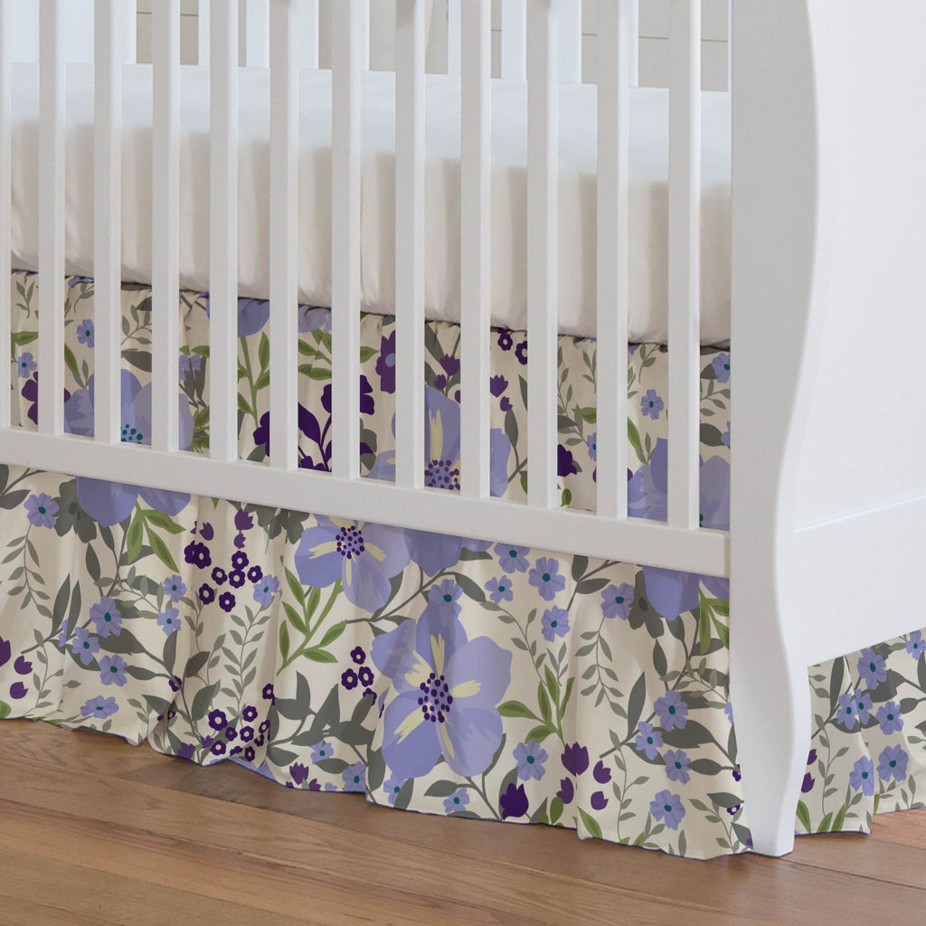 Product image for Lavender Floral Tropic Crib Skirt Gathered