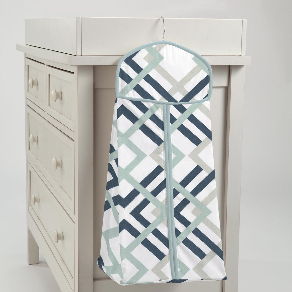 Product image for Navy and Gray Geometric Diaper Stacker