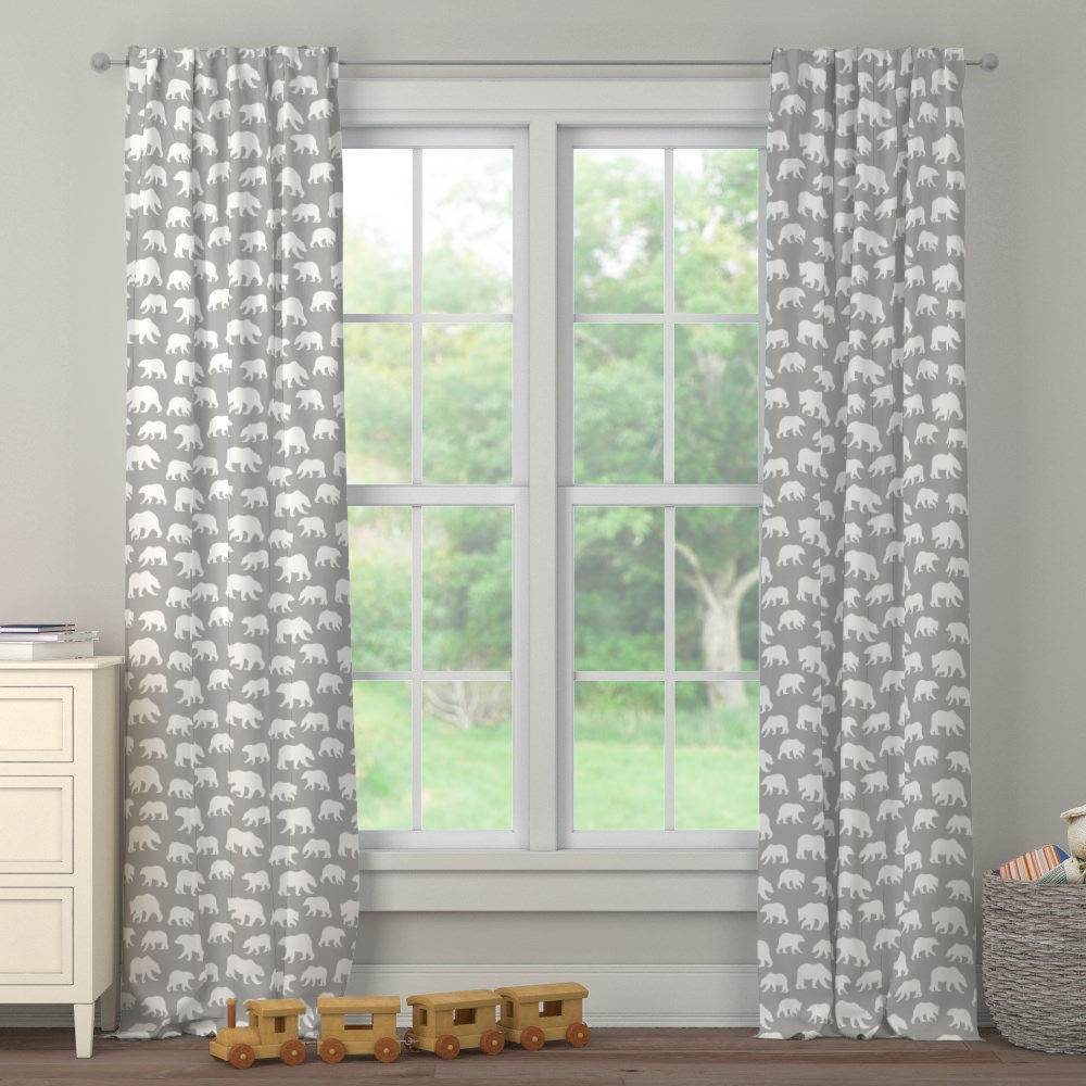 Product image for Silver Gray and White Bears Drape Panel