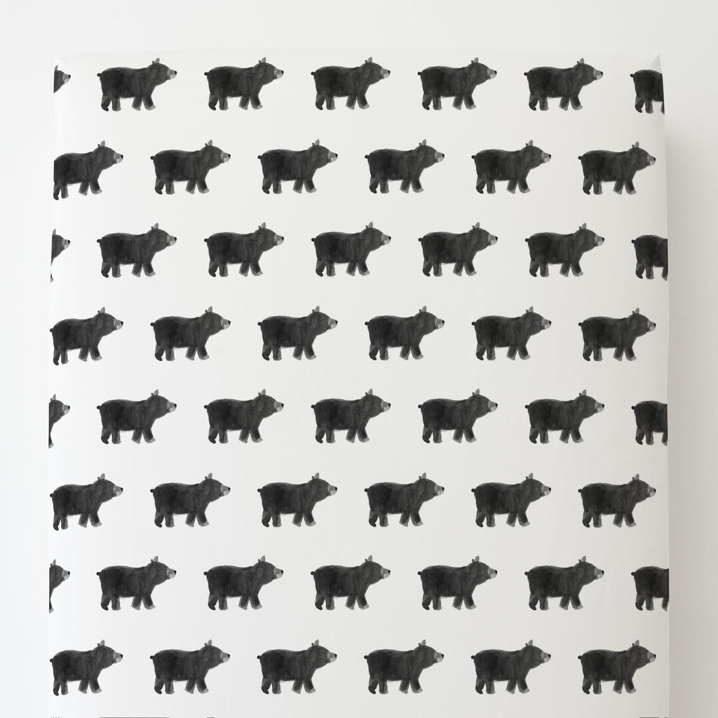 Product image for Gray Painted Bear Toddler Sheet Bottom Fitted