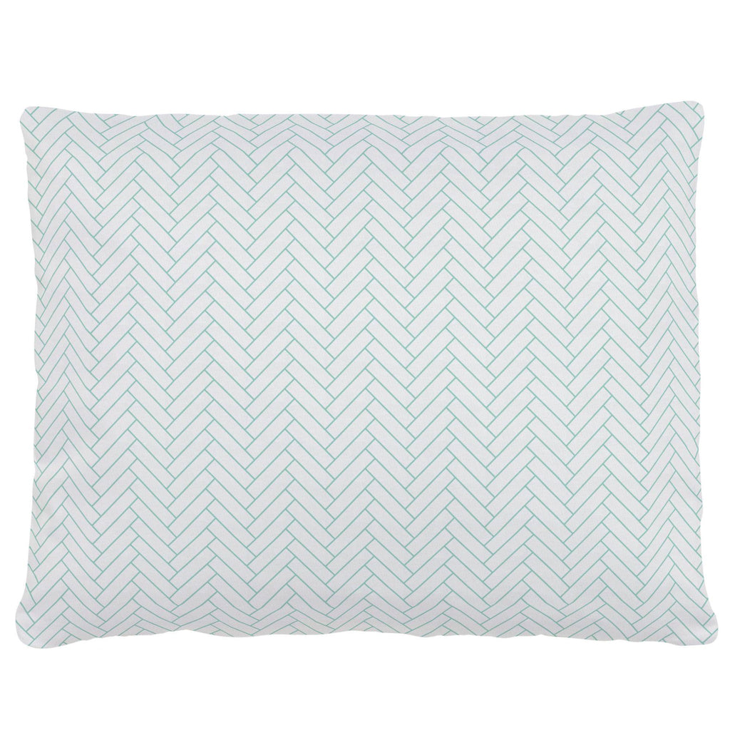 Product image for White and Mint Classic Herringbone Accent Pillow