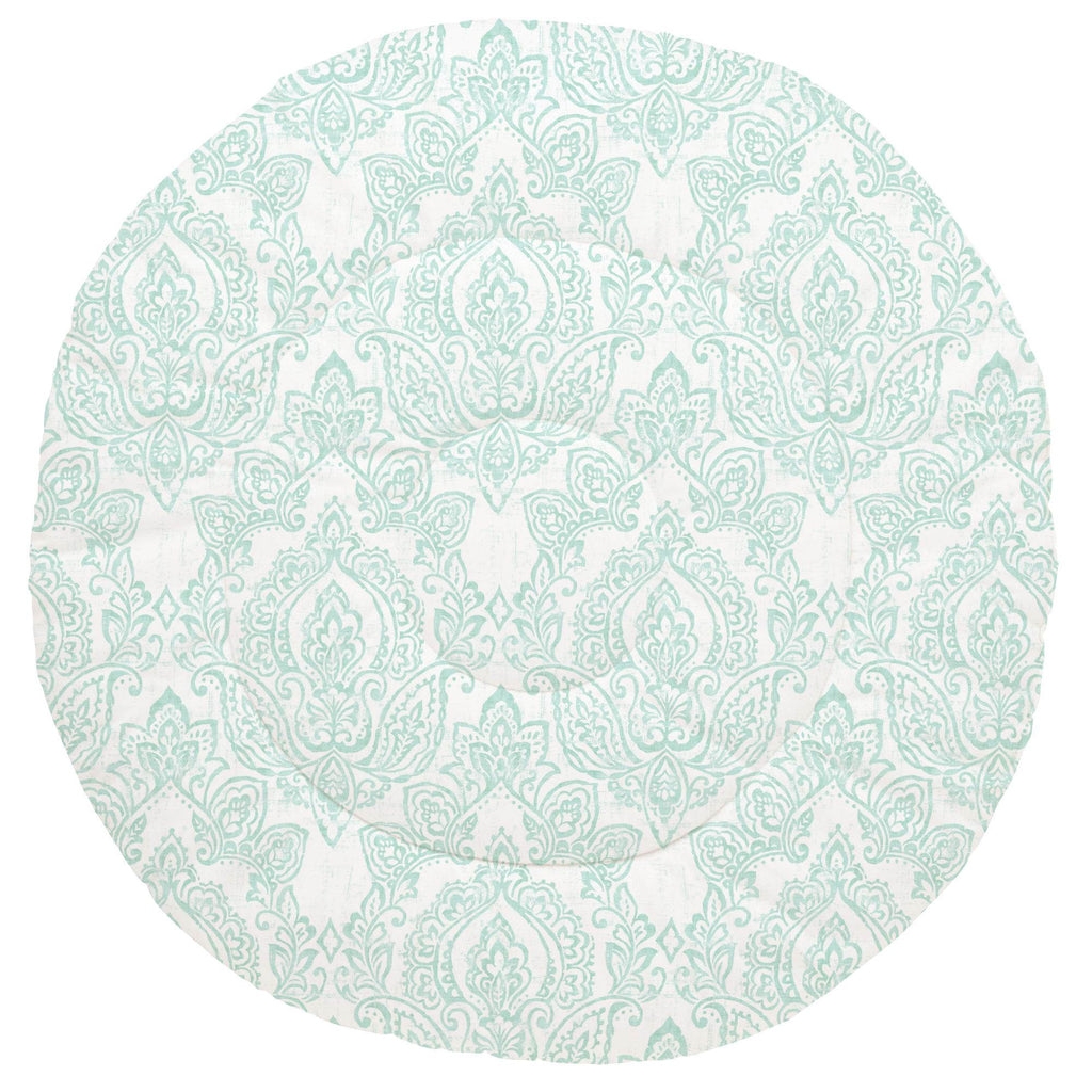 Product image for White and Icy Mint Vintage Damask Baby Play Mat