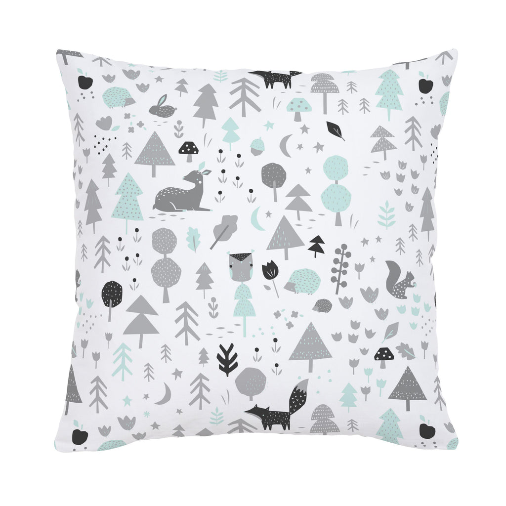 Product image for Icy Mint and Silver Gray Baby Woodland Throw Pillow