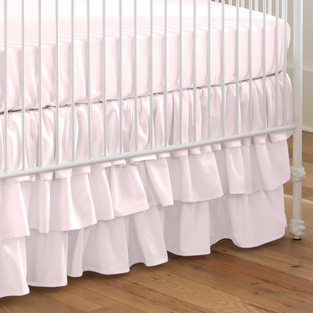 Product image for Solid Pink Crib Skirt 3-Tiered