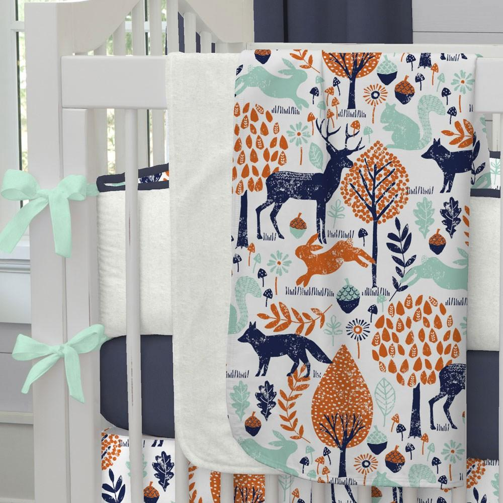 Product image for Navy and Orange Woodland Animals Baby Blanket