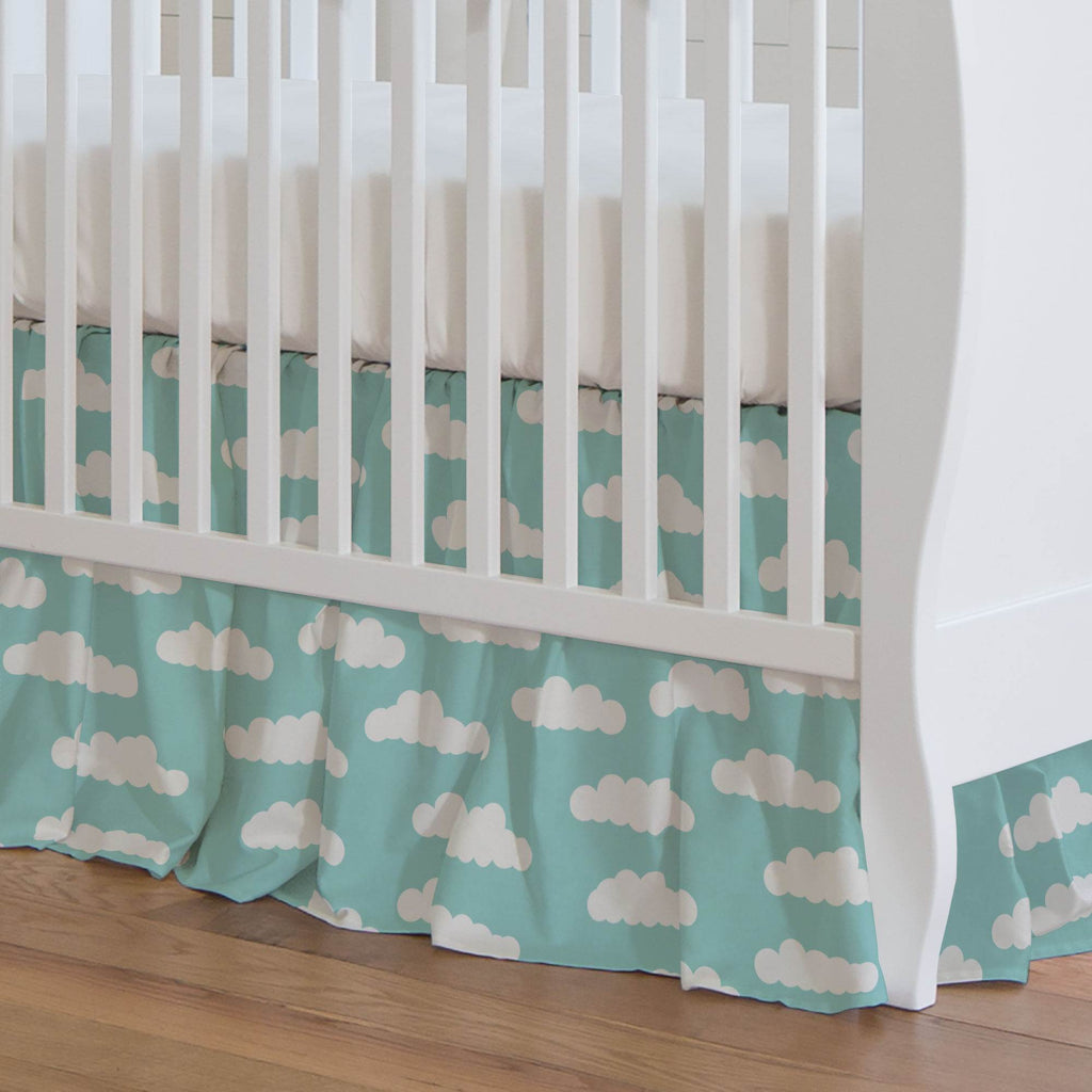 Product image for Seafoam Aqua Clouds Crib Skirt Gathered
