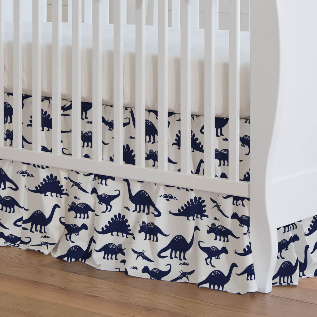 Product image for Navy Dinosaurs Crib Skirt Gathered