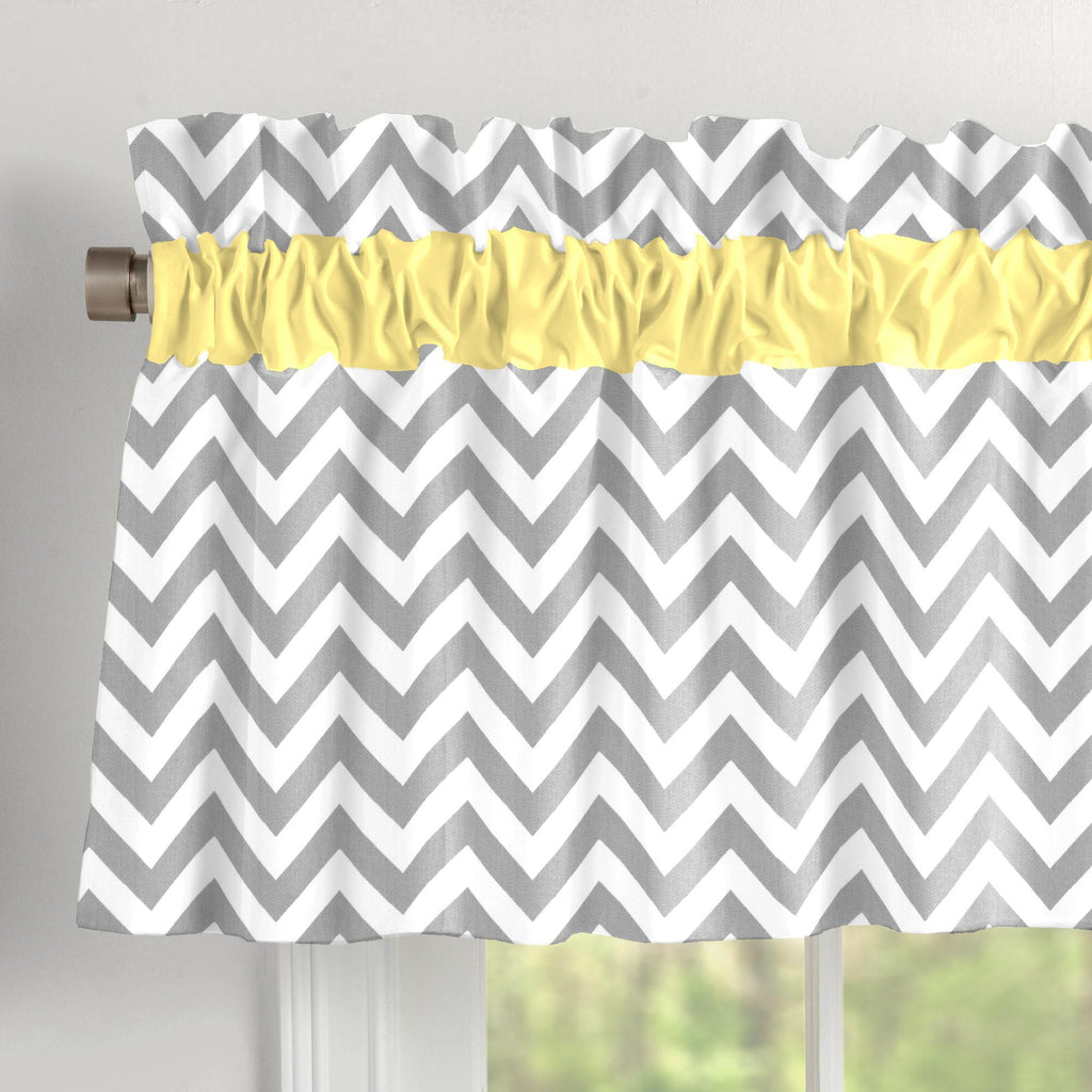 Product image for Yellow and Gray Zig Zag Window Valance