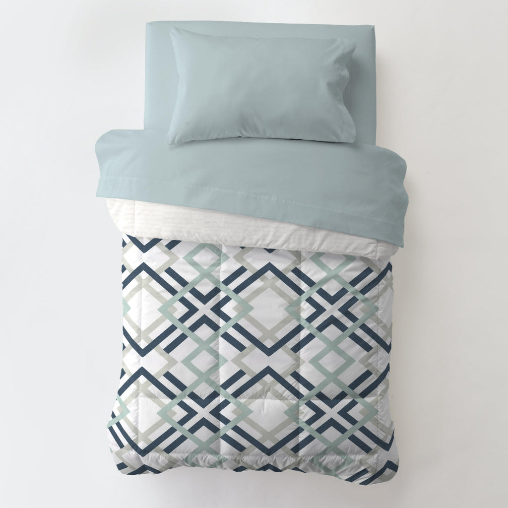 Product image for Navy and Gray Geometric Toddler Comforter