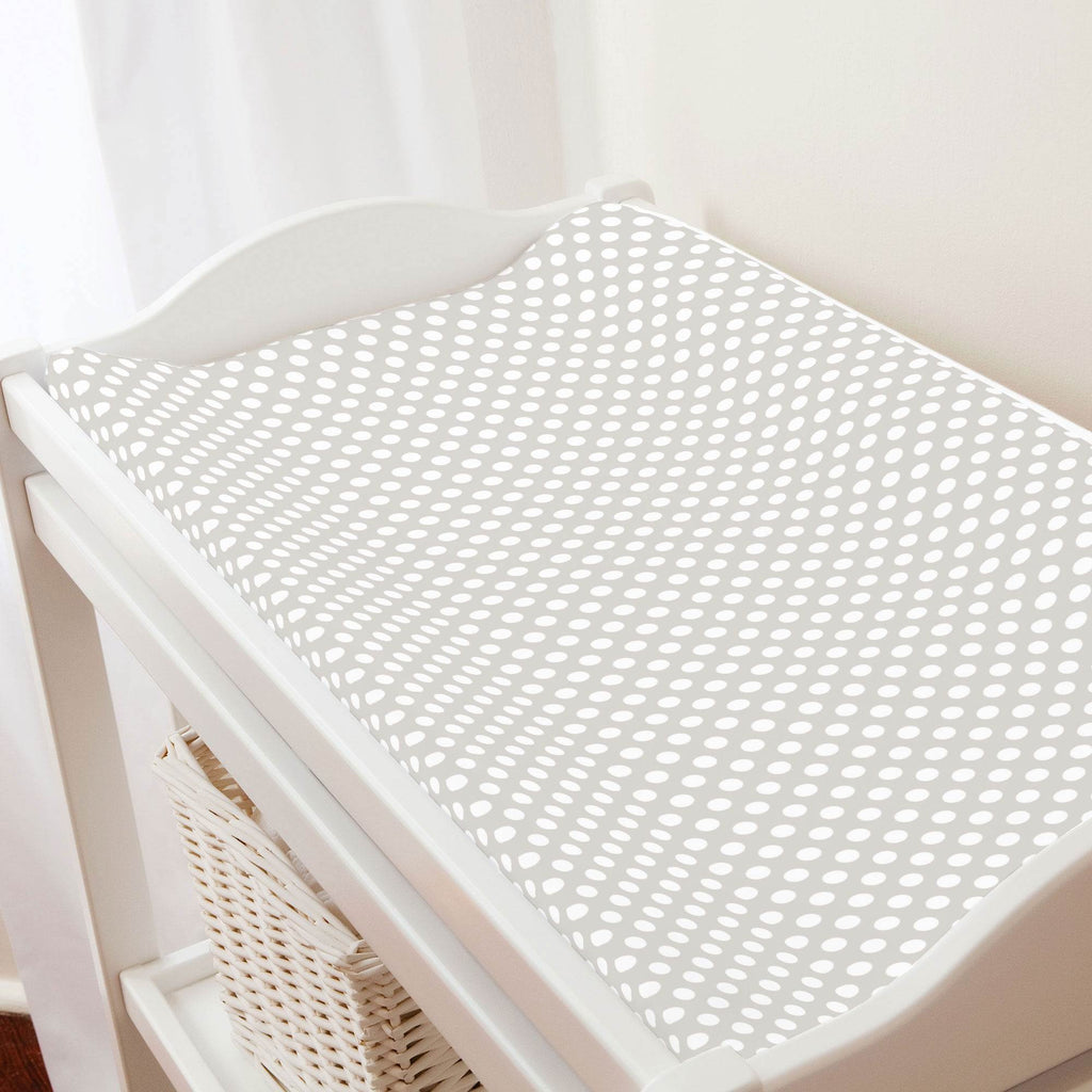 Product image for French Gray and White Dot Changing Pad Cover