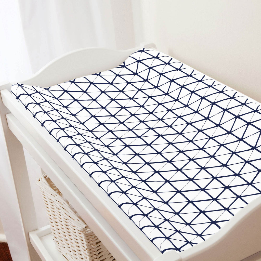 Product image for White and Navy Aztec Triangles Changing Pad Cover