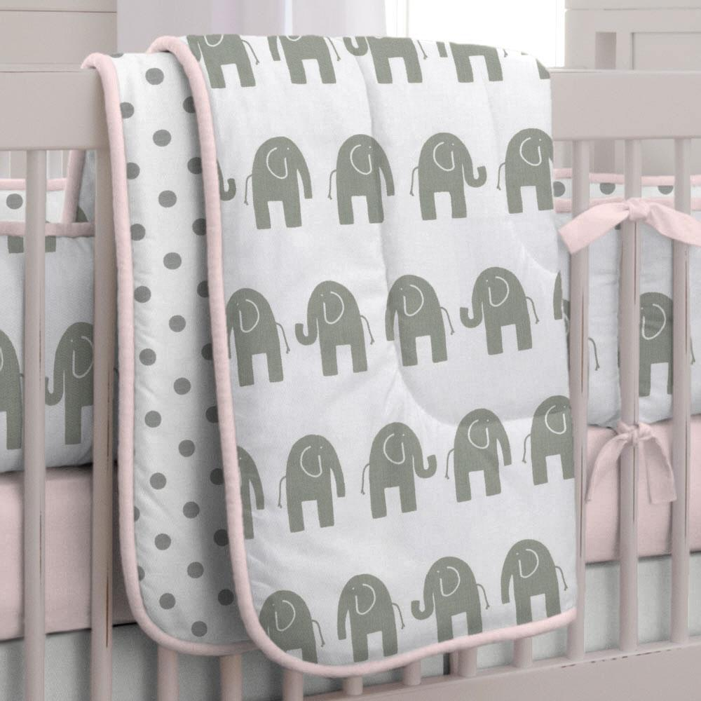 Product image for Pink and Gray Elephants Crib Comforter with Piping