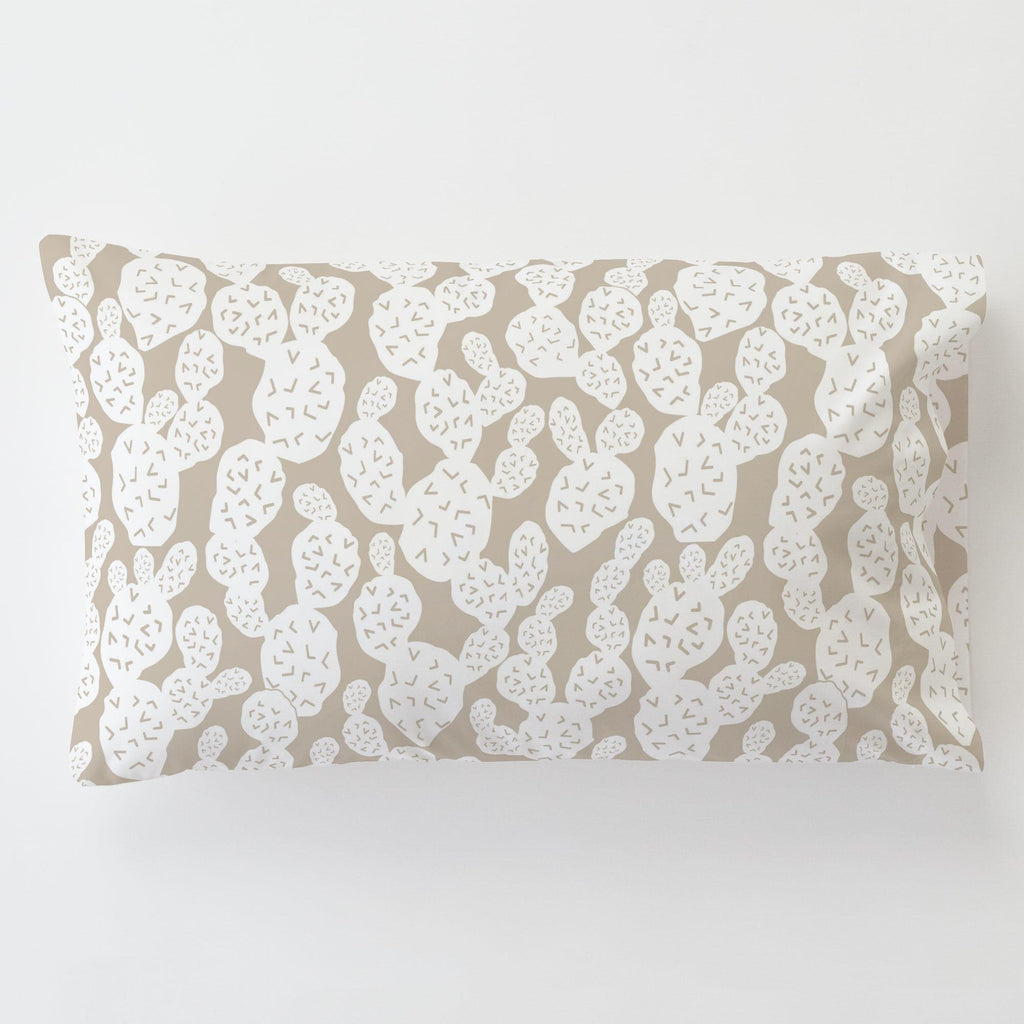 Product image for Taupe Prickly Pear Toddler Pillow Case with Pillow Insert