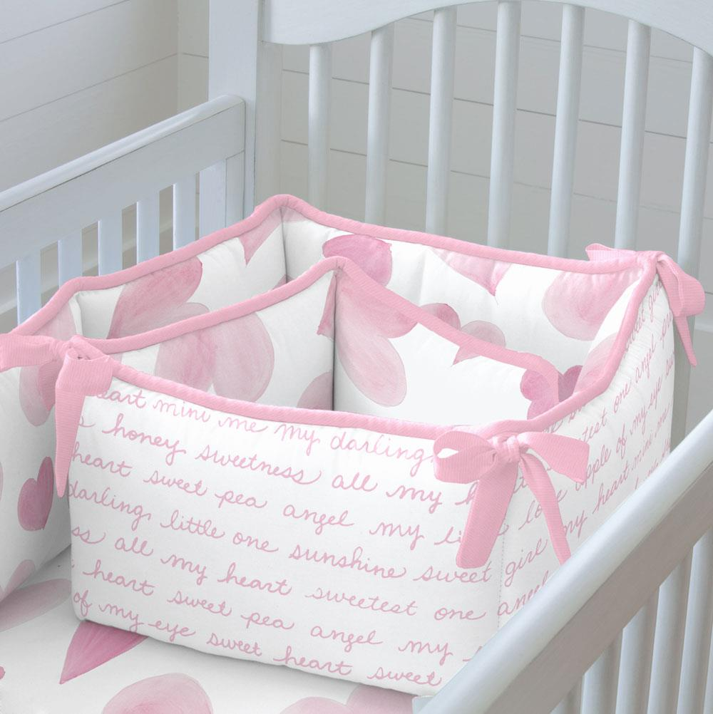 Product image for Pink Watercolor Hearts Crib Bumper