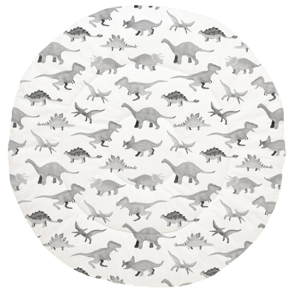 Product image for Gray Watercolor Dinosaurs Baby Play Mat