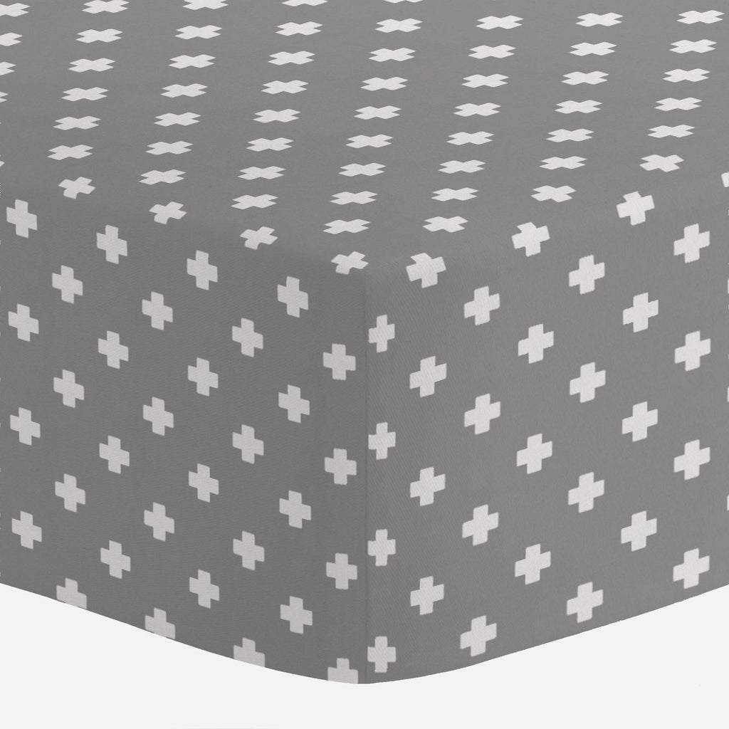 Product image for Gray Mini Swiss Cross Crib Sheet