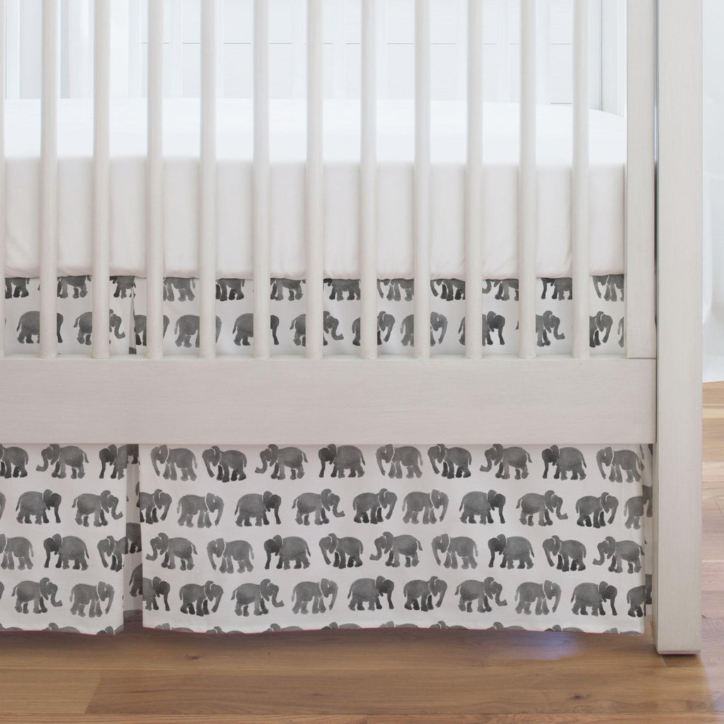 Product image for Gray Watercolor Elephants Crib Skirt Single-Pleat