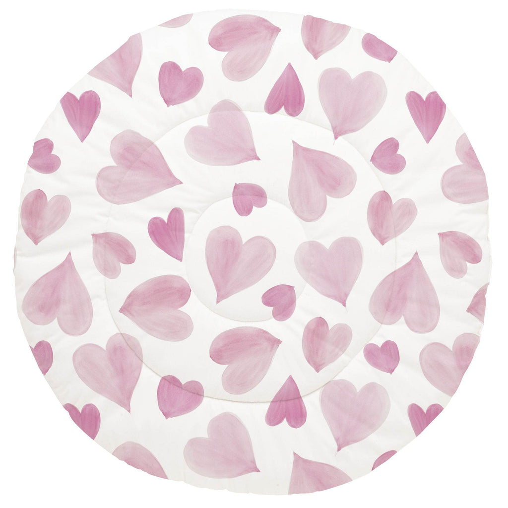 Product image for Pink Watercolor Hearts Baby Play Mat