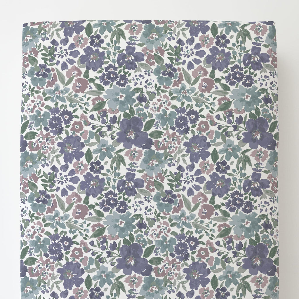 Product image for Purple Prairie Floral Toddler Sheet Bottom Fitted