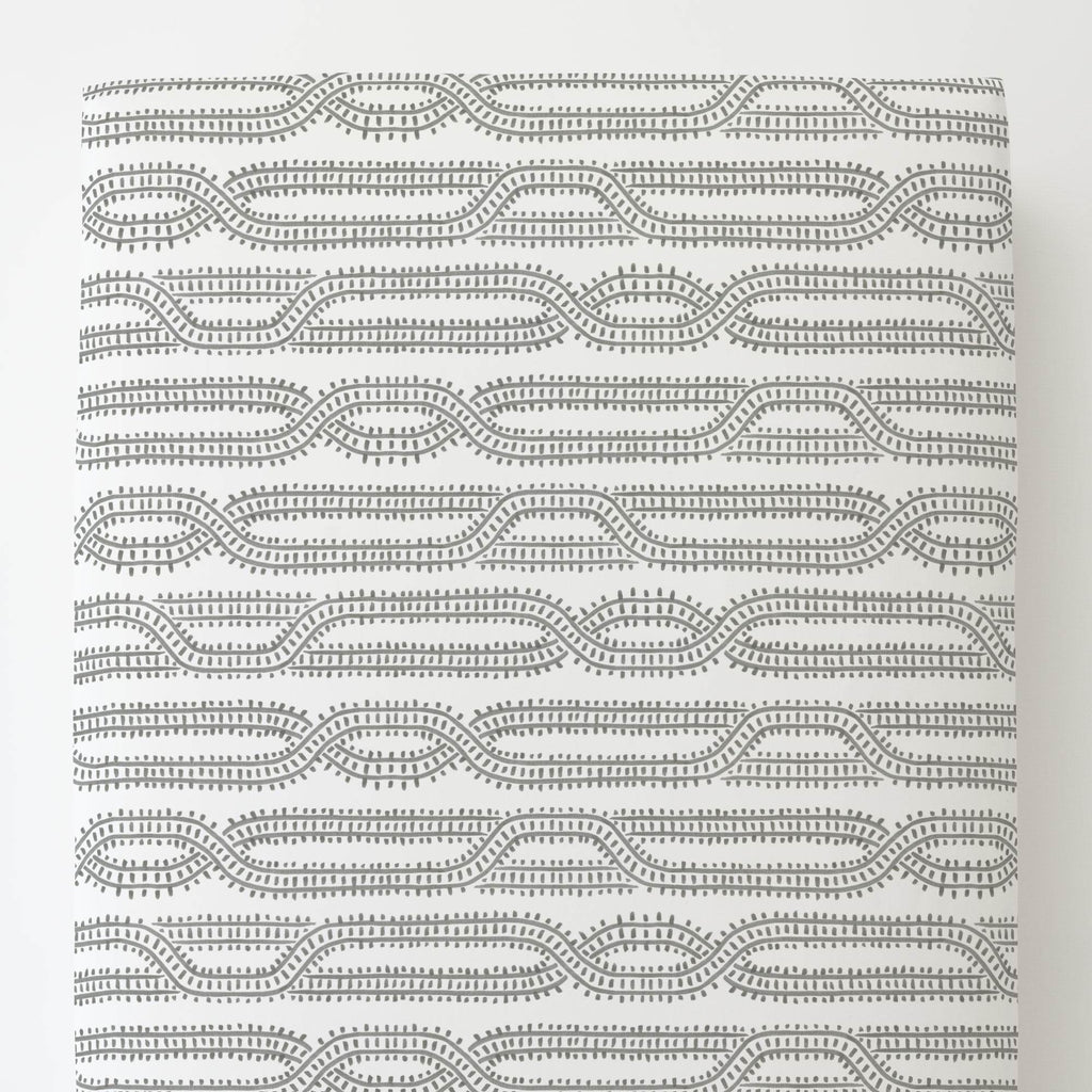 Product image for Gray Train Tracks Toddler Sheet Bottom Fitted