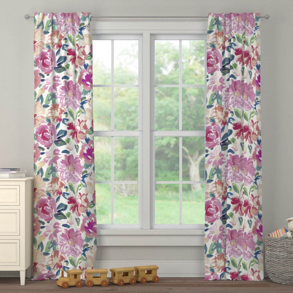 Product image for Pink Brushstroke Floral Drape Panel
